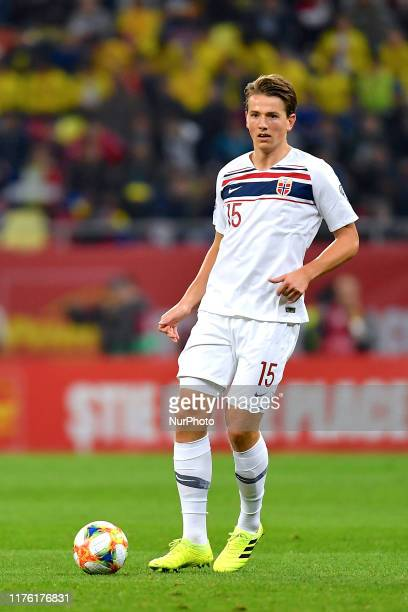 Sander Berge of Norway in action during the game during the UEFA Euro 2020 qualifier match between Romania and Norway at Arena Nationala on October...