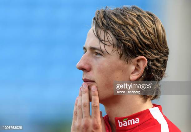 Sander Berge of Norway looks on during training session at Ullevaal Stadion on September 4 2018 in Oslo Norway