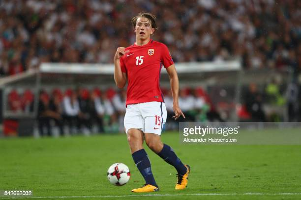 Sander Berge of Norway runs with the ball during the FIFA 2018 World Cup Qualifier between Germany and Norway at MercedesBenz Arena on September 4...