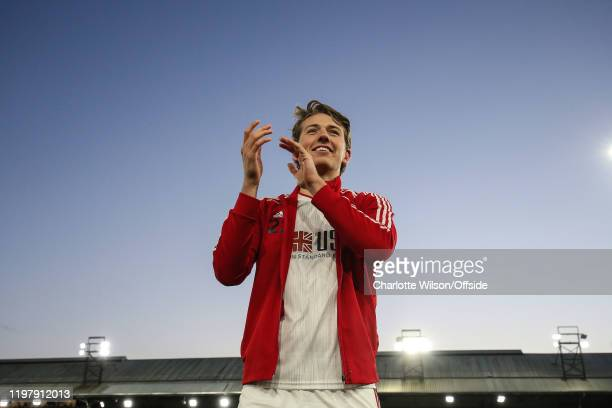 Sander Berge of Sheffield United applauds the fans in response to their warm welcome during the Premier League match between Crystal Palace and...