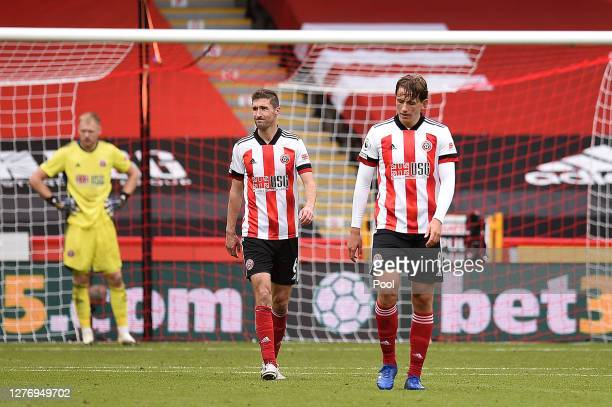 Sander Berge of Sheffield United looks dejected after conceding the first goal during the Premier League match between Sheffield United and Leeds...