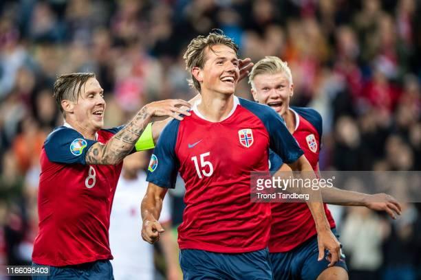 Sander Berge Stefan Johansen Erling Braut Haaland of Norway celebrate a goal during the UEFA Euro 2020 qualifier between Norway and Malta at Ullevaal...