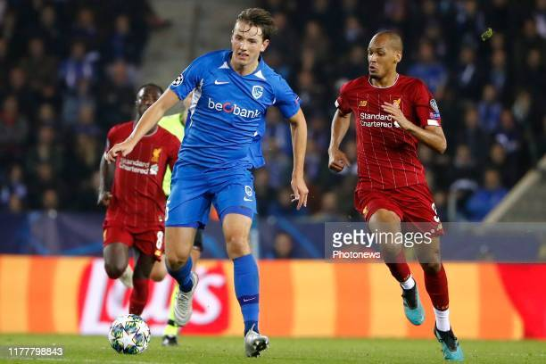 Sander Boli Berge midfielder of Genk and Fabinho midfielder of Liverpool during the UEFA Champions League group E match between KRC Genk and...