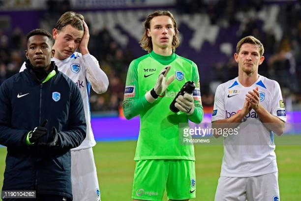Sander Boli Berge midfielder of Genk Maarten Vandevoordt goalkeeper of Genk and Patrik Hrosovsky midfielder of Genk greeting the fans despite the...