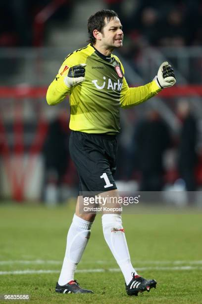 Sander Boschker of Enschede celebrates the first goal during the UEFA Europa League knock-out round, first leg match between FC Twente Enschede and...