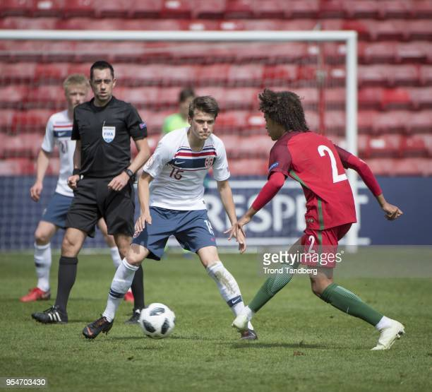 Sander Christiansen of Norway during the UEFA European Under17 Championship between Portugal and Norway at Bescot Stadium on May 4 2018 in Walsall...