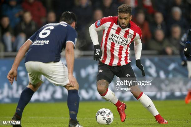 Sander Fischer of Sparta Rotterdam Jurgen Locadia of PSV during the Dutch Eredivisie match between PSV Eindhoven and Sparta Rotterdam at the Phillips...