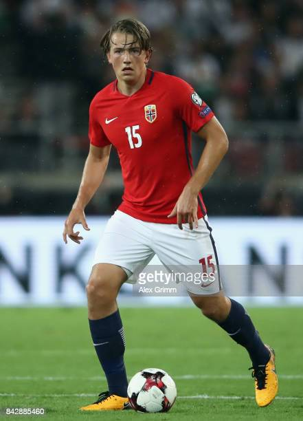 Sander Gard Bolin Berge of Norway controls the ball during the FIFA World Cup Russia 2018 Group C Qualifier between Germany and Norway at...