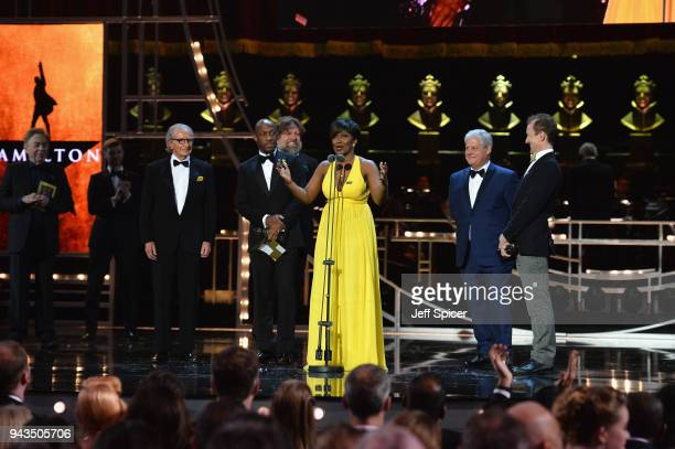 Sander Jacobs Giles Terera Rachel John Cameron Mackintosh and Jeffrey Seller receive the award for Best New Musical for 'Hamilton' on stage during...