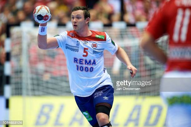 Sander Sagosen of Norway in action during the IHF Men's World Championships Handball match between Denmark and Norway in Jyske Bank Boxen on January...