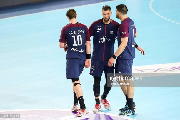 Sander Sagosen of Paris Saint Germain and Luka Karabatic of Paris Saint Germain and Luka Stepancic of Paris Saint Germain during the League Cup semi...