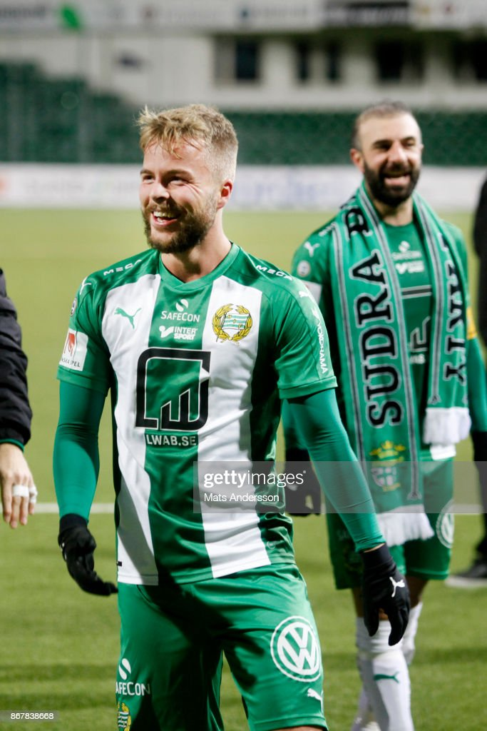 Sander Svendsen and Kennedy Bakircioglu of Hammarby IF celebrates after the victory during the Allsvenskan match between GIF Sundsvall and Hammarby IF at Norrporten Arena on October 29, 2017 in Sundsvall, Sweden.