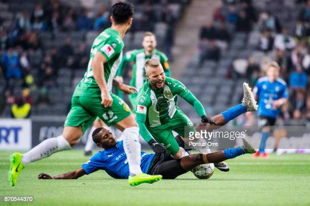Sander Svendsen of Hammarby IF and Aboubakar Keita of Halmstad BK during the Allsvenskan match between Hammarby IF and Halmstad BK at Tele2 Arena on...