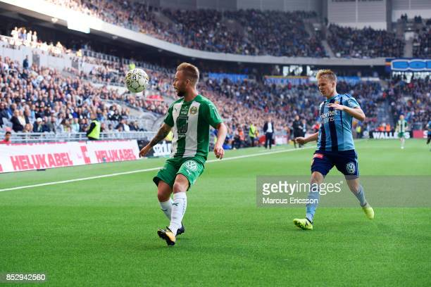 Sander Svendsen of Hammarby IF and Elliot Kack of Djurgardens IF during the Allsvenskan match between Djurgardens IF and Hammarby IF at Tele2 Arena...