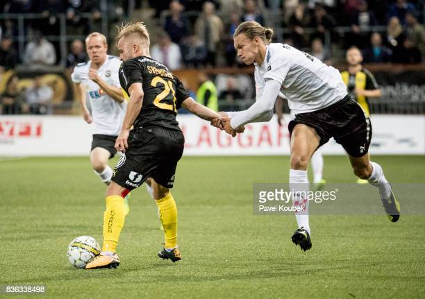Sander Svendsen of Hammarby IF Arvid Brorsson of Orebro SK during the Allsvenskan match between Orebro SK and Hammarby IF at Behrn Arena on August 21...