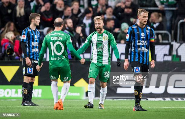 Sander Svendsen of Hammarby IF celebrates together with Kennedy Bakircioglu after scoring 33 during the Allsvenskan match between Hammarby IF and IK...
