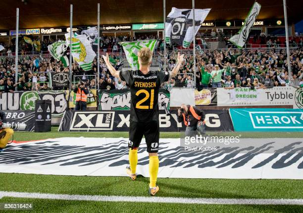 Sander Svendsen of Hammarby IF celebrates with fans during the Allsvenskan match between Orebro SK and Hammarby IF at Behrn Arena on August 21 2017...