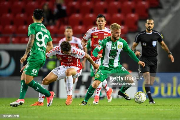 Sander Svendsen of Hammarby IF competes for the ball during the allsvenskan match between Kalmar FF and Hammarby IF at Guldfageln Arena on October 16...