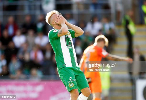 Sander Svendsen of Hammarby IF dejected during the Allsvenskan match between Athletic FC Eskilstuna and Hammarby IF on August 26 2017 in Eskilstuna...