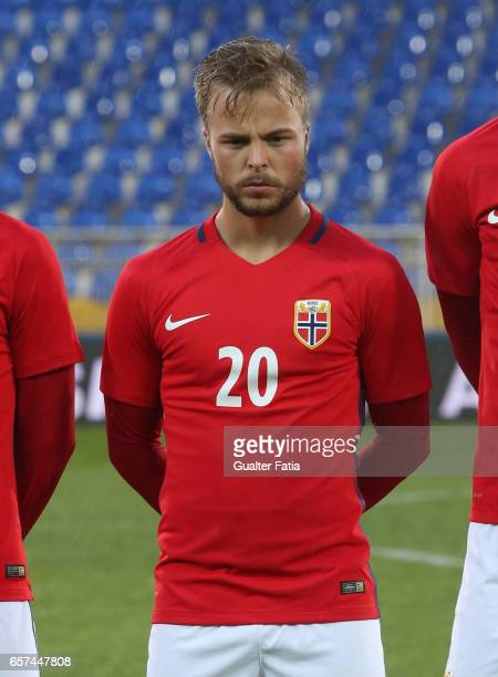 Sander Svendsen of Norway before the start of the U21 International Friendly match between Portugal and Norway at Estadio Antonio Coimbra da Mota on...