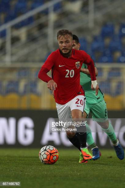 Sander Svendsen of Norway during the match between Portugal v Norway U21 International Friendly match at Estadio Antonio Coimbra da Mota on March 24...