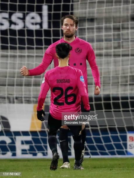 Sander van der Streek of FC Utrecht Celebrates 1-2 during the Dutch Eredivisie match between RKC Waalwijk v FC Utrecht at the Mandemakers Stadium on...