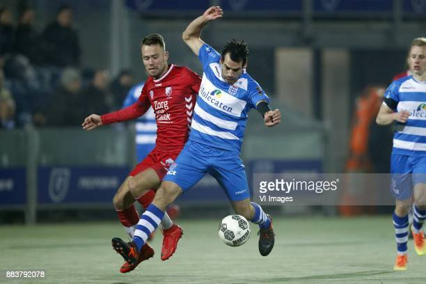 Sander van der Streek of FC Utrecht Dirk Marcellis of PEC Zwolle during the Dutch Eredivisie match between PEC Zwolle and FC Utrecht at the MAC3Park...
