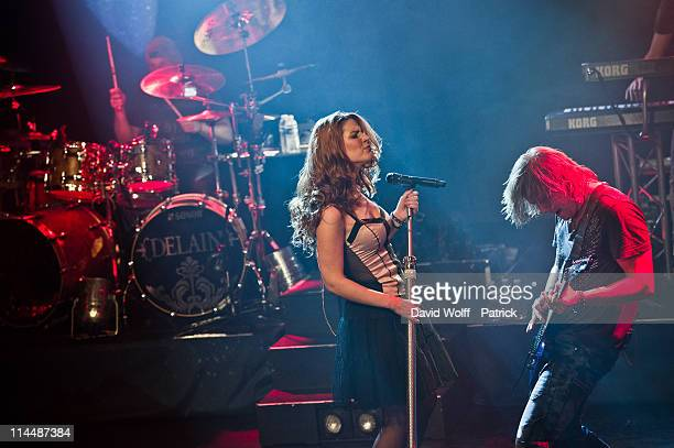 Sander Zoer Charlotte Wessels and Timo Somers of Delain perform at L'Alhambra on May 21 2011 in Paris France