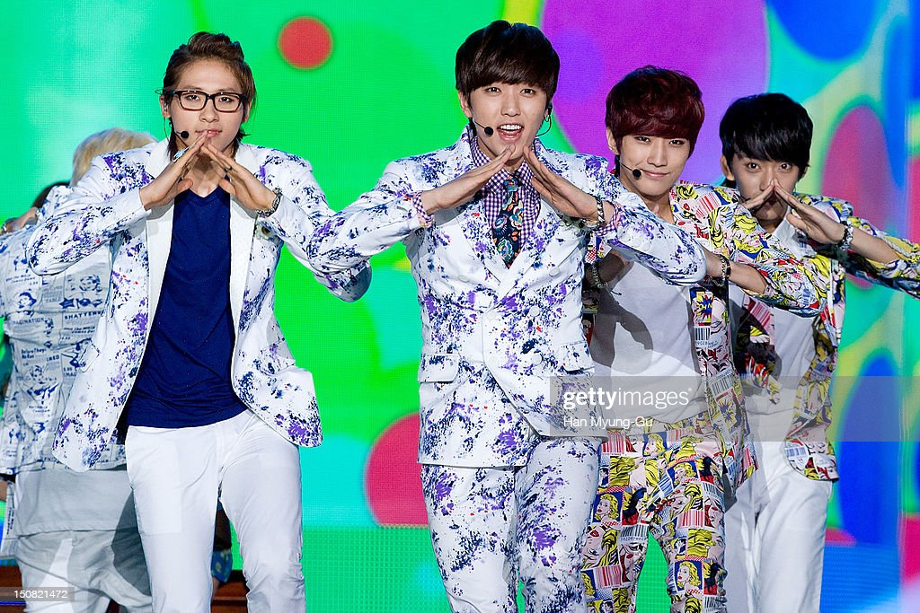 CNU, Sandeul, Jinyoung and Gongchan of South Korean boy band B1A4 perform onstage during the KBS Korea-China Music Festival on August 25, 2012 in Yeosu, South Korea.