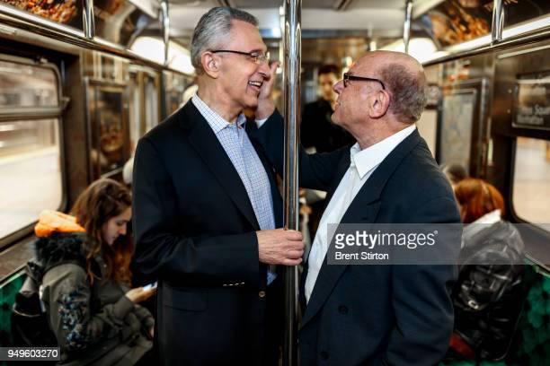 Sandford Greenberg and Art Garfunkel seen riding the New York Subway and also at their Alma Mater Columbia University Greenberg lost his sight in his...