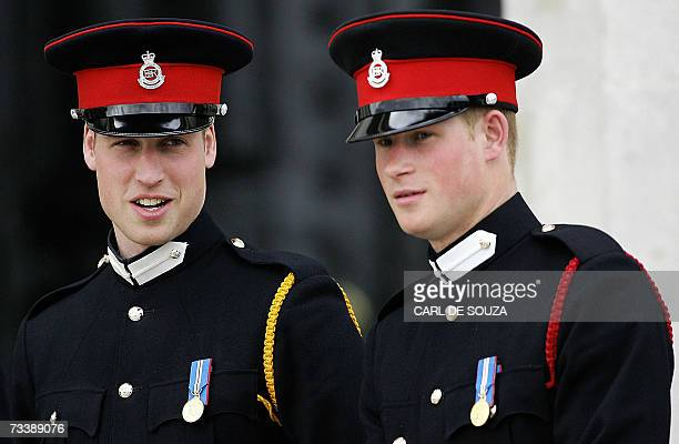 This picture taken 12 April 2006 at the Royal Military Academy in Sandhurst southern England shows Britain's Prince Harry and his brother Prince...