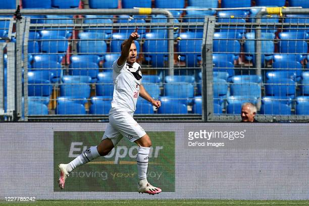Sandi Lovric of FC Lugano celebrates after scoring his team's first goal during the Swiss Raiffeisen Super League match between FC Basel and FC...