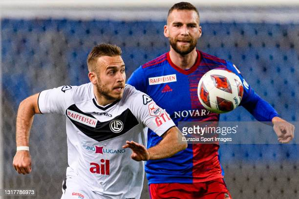 Sandi Lovric of Lugano is chased by Pajtim Kasami of Basel during the match between FC Basel 1893 and FC Lugano at St. Jakob-Park Stadium on May 11,...