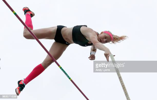 Sandi Morris clears the bar on her way to victory in the Womens Pole Vault during day 4 of the 2018 USATF Outdoor Championships at Drake Stadium on...