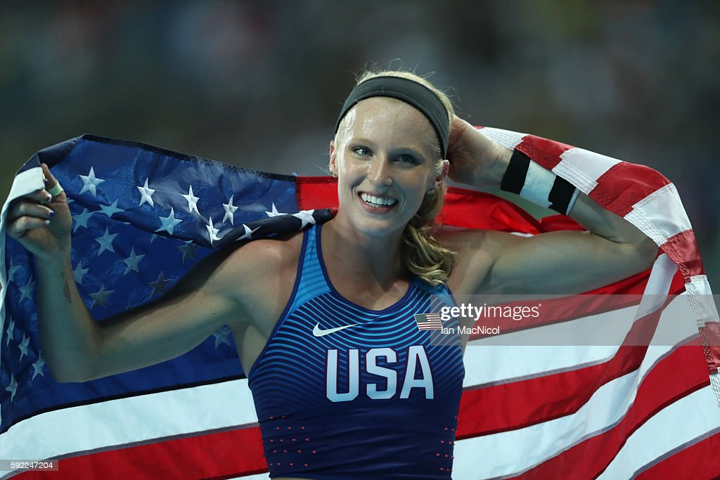 Sandi Morris of the United States celebrates winning silver in the Women's Pole Vault Final on Day 14 of the Rio 2016 Olympic Games at the Olympic Stadium on August 19, 2016 in Rio de Janeiro, Brazil.