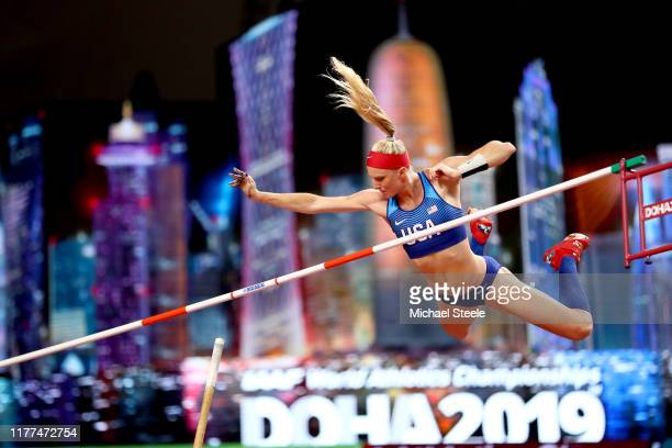 Sandi Morris of the United States competes in the Women's Pole Vault qualification during day one of 17th IAAF World Athletics Championships Doha...