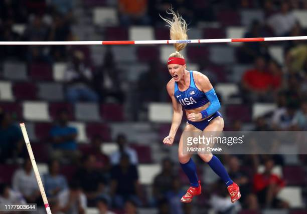 Sandi Morris of the United States competes in the Women's Pole Vault final during day three of 17th IAAF World Athletics Championships Doha 2019 at...