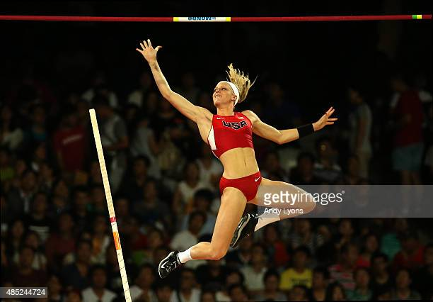 Sandi Morris of the United States competes in the Women's Pole Vault final during day five of the 15th IAAF World Athletics Championships Beijing...