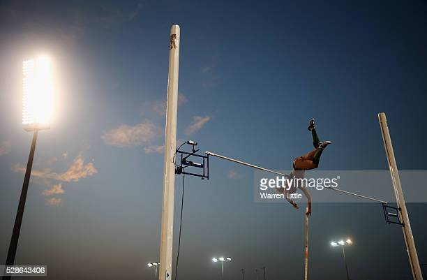 Sandi Morris of the United States competes in the Women's Pole Vault final during the Doha IAAF Diamond League 2016 meeting at Qatar Sports Club on...