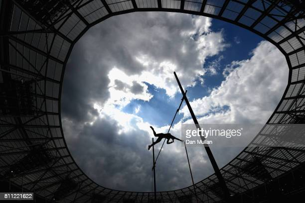 Sandi Morris of The United States competes in the womens pole vault during the Muller Anniversary Games at London Stadium on July 9 2017 in London...