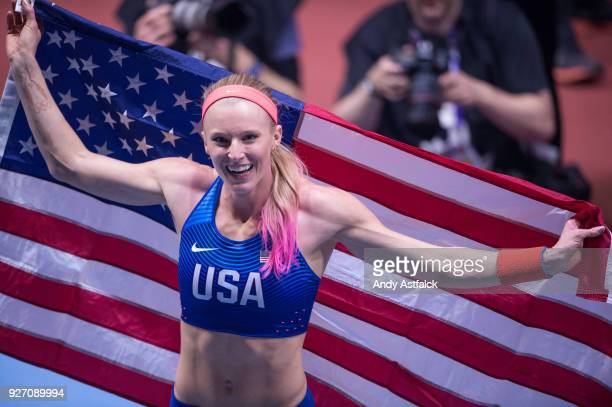 Sandi Morris of the USA celebrates winning the Women's Pole Vault Final on Day 3 of the IAAF World Indoor Championships at Arena Birmingham on March...