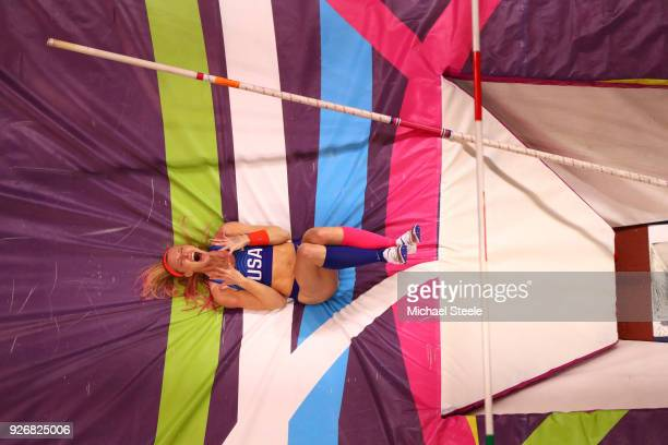 Sandi Morris of United States celebrates in the Pole Vault Womens Final during the IAAF World Indoor Championships on Day Three at Arena Birmingham...