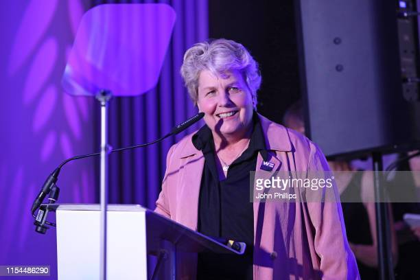 Sandi Toksvig accepting the award for for 'Broadcaster of the year' at the Diva Awards 2019 at The Waldorf Hilton Hotel on June 07 2019 in London...