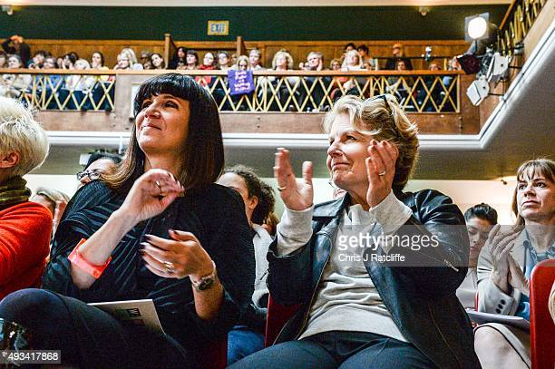 Sandi Toksvig and Catherine Mayer at the Women's Equality Party policy launch on October 20 2015 in London England The new political party announced...