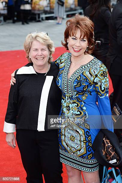 Sandi Toksvig and Kathy Lette arrive for the UK film premiere Of 'Florence Foster Jenkins' at Odeon Leicester Square on April 12 2016 in London...