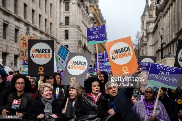 Sandi Toksvig Bianca Jagger and Mayor of London Sadiq Khan during the March for Women on International Women's Day on March 8 2020 in London England...