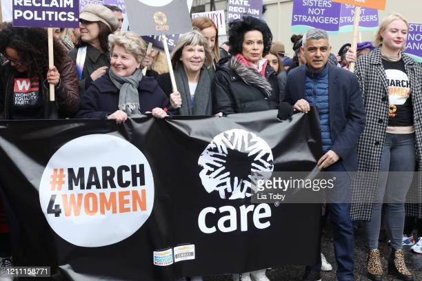 Sandi Toksvig Bianca Jagger and Sadiq Khan during the #March4Women 2020 rally at Southbank Centre on March 08 2020 in London England The event is to...