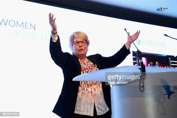 Sandi Toksvig speaks during the annual Women of the Year lunch at Intercontinental Hotel on October 16 2017 in London England