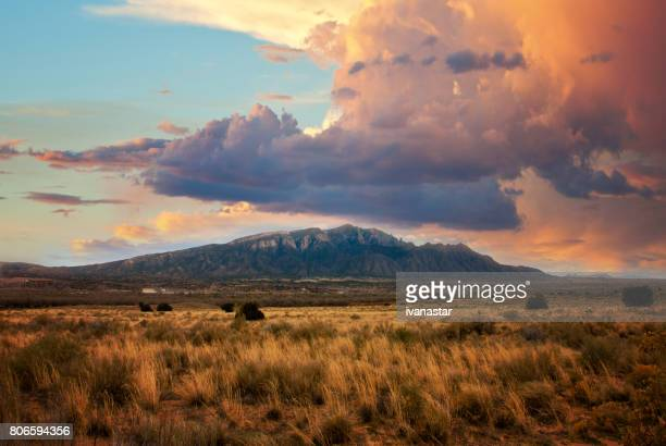 sandia mountains at sunset - southwest usa stock pictures, royalty-free photos & images