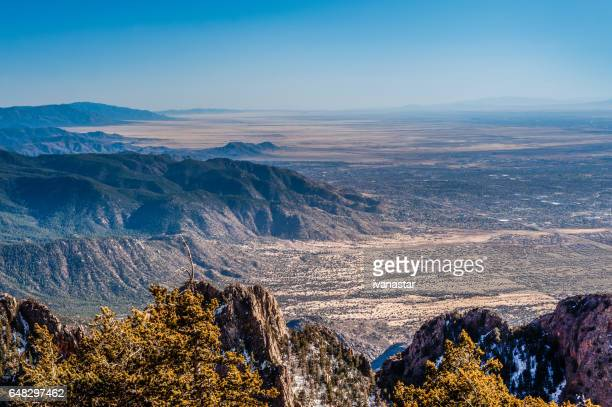 sandia mountains - view from the sandia crest - sandia mountains stock photos and pictures